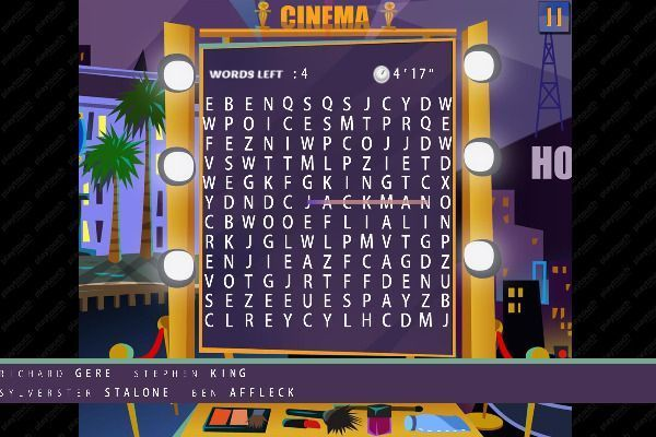 Words Search Hollywood Stars 🕹️ 🏖️ | Jeu de navigateur casual de logique - Image 1