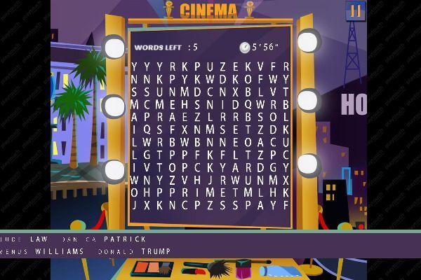 Words Search Hollywood Stars 🕹️ 🏖️ | Jeu de navigateur casual de logique - Image 2